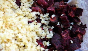 The beets and bulgur wheat are blended together